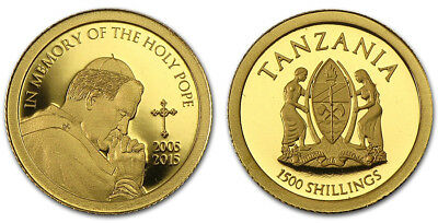 Tanzania 1,500 (1500) Shillings, 1/2 g Gold Coin, 2015, Memory of the Holy Pope