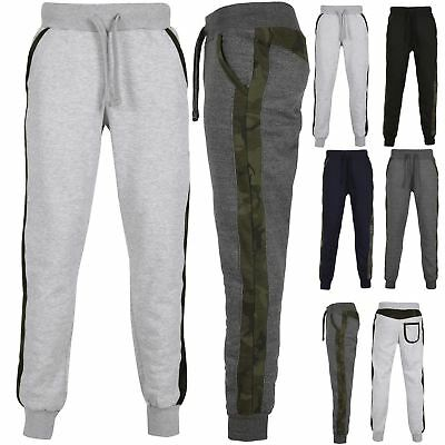 Mens Bottoms Exercise Army Camouflage Side Striped Pockets Jogging Pant Trouser