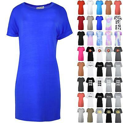 Women Ladies Plain Stretchy Turn Up Sleeve Baggy Oversized T-shirt Top Plus Size