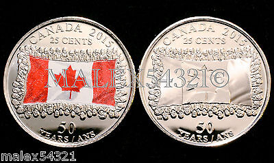 🇨🇦2015 Canada Flag 25 Cents Set Uncirculated (2 Coins)