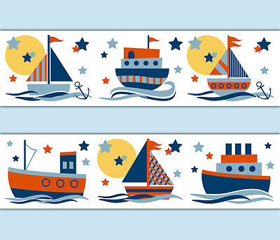 Nautical Sailboat Wallpaper Border Wall Art Decals Baby Boy Nursery Stickers