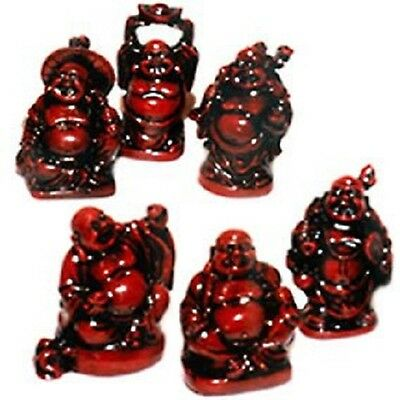 Box of 6 Standing Laughing Buddha Statues Brown 34mm LB009
