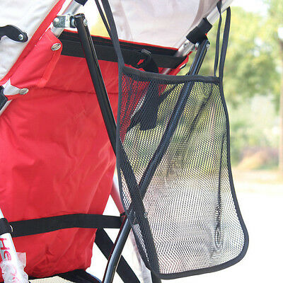 New Baby Infant Stroller Hanging Bag Black Mesh Bottle Diaper Storage Organizer