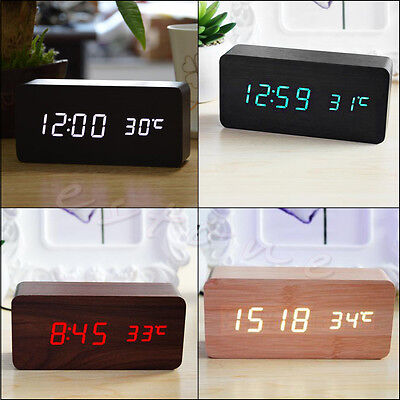 1Pc Digital LED Snooze Voice Control Wood Desk Alarm Clock Timer Thermometer New