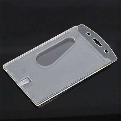 Clear Office Vertical Hard Plastic Badge Holder Double-sided Multi Card ID New
