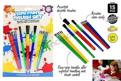 PK Of 15 Coloured Craft Artist Paint Brush Painting Drawing Kids Small Colouring