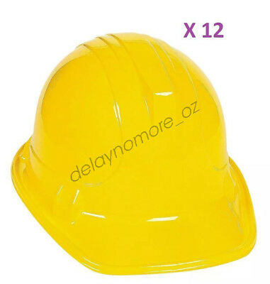 Construction Builder Worker Party 12 Child Yellow Plastic Hat Costume Favours