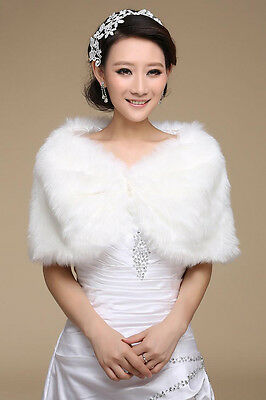 New White Faux Fur Wrap Bridal Warm Shawl Women's Shrug Stole Jacket