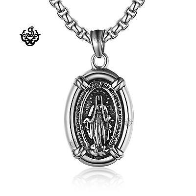 Silver pendant St Mary the Virgin mother of Jesus stainless steel necklace