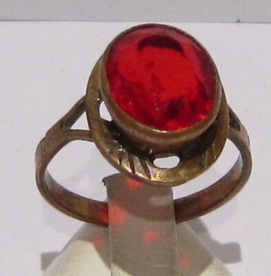 VINTAGE NICE BRONZE RING WITH RED STONE FROM THE EARLY 20th CENTURY # 400
