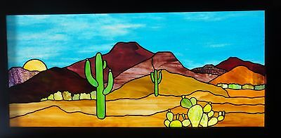 "Stained Glass Desert Scene Saguaro Tucson 37"" W X 16 1/2"" H Framed Window Panel"
