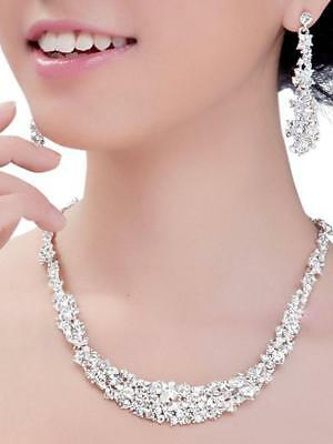 Clear Crystal Necklace Earrings Set Wedding Bridal Bridesmaid Party Jewelry
