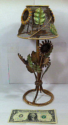 "Vintage Metal Candle Holder Lamp with Shade - Sunflower - 14"" Tall by 6"" Wide"