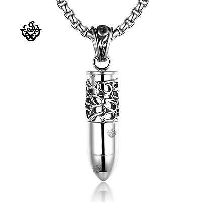 Silver bullet pendant stainless steel necklace soft gothic