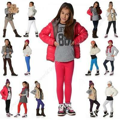 Girls Children Full Length Cotton Leggings Kids Pants All Ages +20 Colours