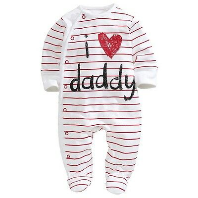 UK Seller baby clothes I love Daddy boys girls rompers Playsuit Sleepsuit 0-3M