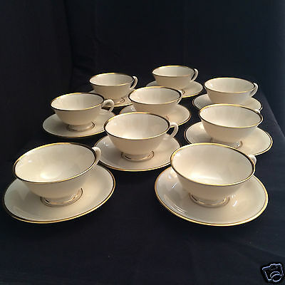 Lenox Mansfield Presidential Collection 9 Cups and Saucers, C513 ivory/gold trim