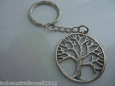 1 x Large Antique Silver  Alloy 'TREE OF LIFE' Pendant on Keyring (LB-142501)