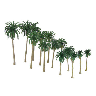 15 Plastic Model Coconut Palm Trees Rain Forest Beach Diorama Scenery HO N Z