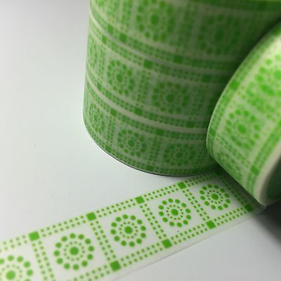 Washi Tape Lime Dotted Tiles 15Mm X 10Mtr Scrap Planner Craft Wrap Mail Art