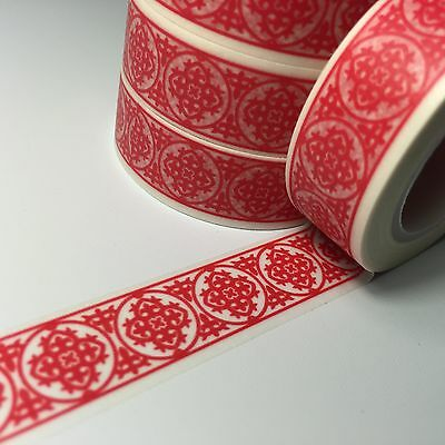 Washi Tape Red Medallions 15Mm X 10Mtr Scrap Planner Craft Wrap Mail Art