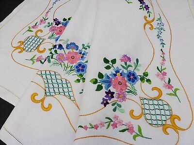 Vintage Irish Linen Tablecloth-Striking Hand Embroidered Flowers