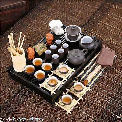 Solid wood tea tray+complete tea set yixing kung fu zisha purple clay teapot cup