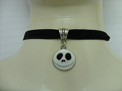 The Nightmare Before Christmas Jack Charm with Black Flat Velvet Choker Necklace