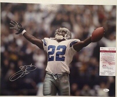 Emmitt Smith Autographed Dallas Cowboys 16x20 Photo JSA Witnessed COA