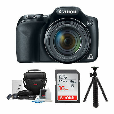 Canon Powershot SX530 HS 50x Zoom 16MP Camera 32GB Deluxe Accessory Bundle Kit