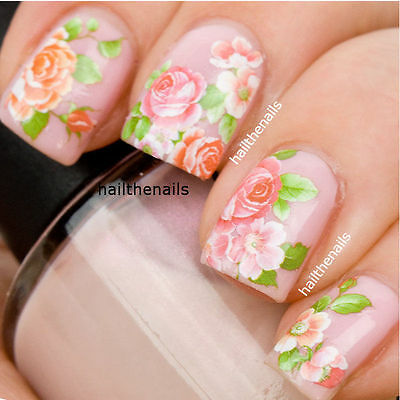Nails WRAPS Nail Art Water Transfers Decals Vintage Pink Roses So beautiful 093G