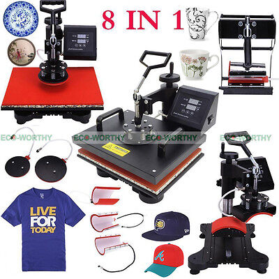 8 in 1 Multi-function Heat Press Machine Transfer DIY Printing T-Shirt Mug Hat