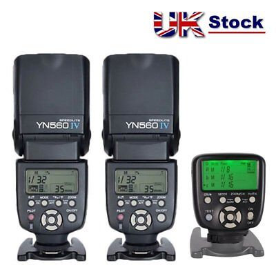 Yongnuo YN560-TX Wireless Controller for Nikon + 2x YN-560 IV Flash Speedlite UK