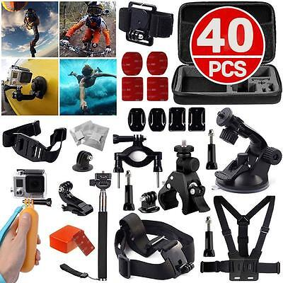 Accessories Set Kit 40 in 1 for Gopro Hero 4 3+ 3 2 Bag Monopod Head Chest Stap