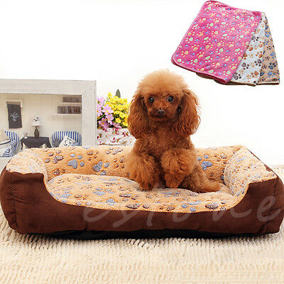 Pet Small Large Warm Paw Print Dog Puppy Pig Cat Fleece Soft Blanket Beds Mat