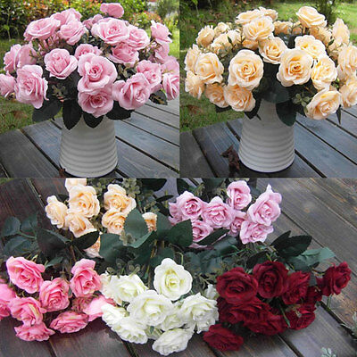 12 Heads Rose Silk Artificial Flower Bouquet Wedding Home Party Decoration Craft