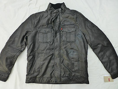 Nwt Mens Levis Faux Leather Lined Winter Trucker Jacket $180 Black Lm4Ku044