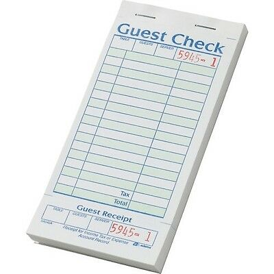 "Adams Guest Checks with Stub, 3-3/8"" x 7"", 20 ct (SA540A) 50 pages per book"