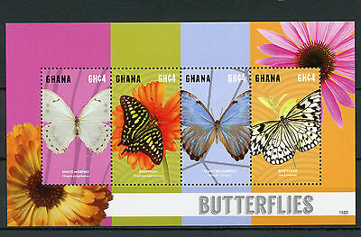 Ghana 2015 MNH Butterflies 4v M/S I Insects Morpho Graphium Rice Paper Butterfly