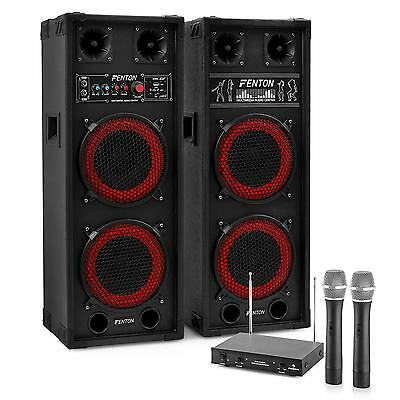Karaoke System 'star-Köpenick' Active Pa Speakers Wireless Mic 800W Free P&p Uk