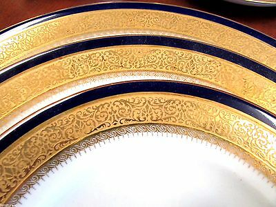5 Piece Place Setting For 12 Hutschenreuther Hohenberg Gold Cobalt Blue