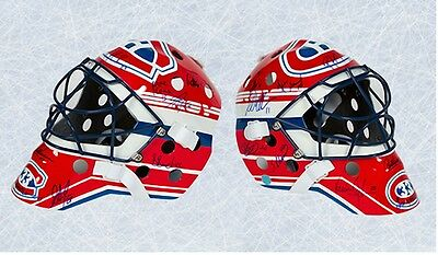1993 Montreal Canadiens Team Signed Full Size Patrick Roy Replica Goalie Mask