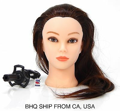 """18"""" Cosmetology Mannequin Head 50% Human Hair With Table Clamp"""