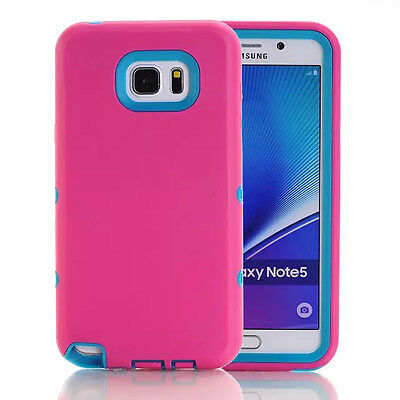 Hot Pink/Blue Shockproof Tough Rubber Hard Cover Case For Samsung Galaxy Note 5
