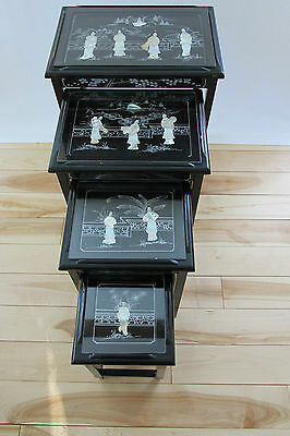 Vintage Chinese Nesting/stacking Tables (4) Mother Of Pearl Jade Stone Carvings