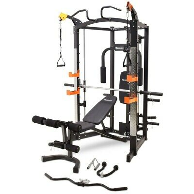 Home Gym Smith Machine & Squat rack, Cable Crossover 100KG Weights & Attachments