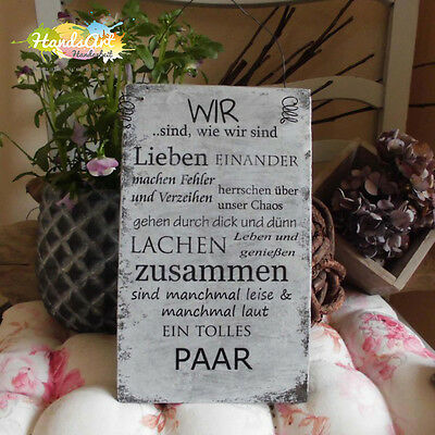 shabby style wir ein tolles paar holzschild geschenk. Black Bedroom Furniture Sets. Home Design Ideas