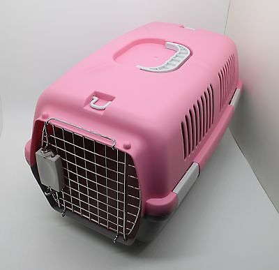 PET CARRIER- kennel HARD crate travel PORTABLE tote cage 12215-PINK