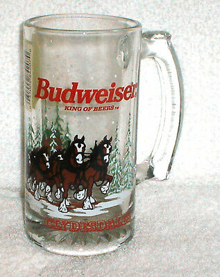 Budweiser Clydesdales Heavy Glass Beer Mug Set Of 2