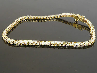 "9Carat Yellow Gold Simulated Diamond Tennis Bracelet 7.5"" 2mm Width"